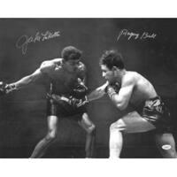 Jake Lamotta signed Vintage BW Boxing 16x20 Photo Raging Bull signed on left  insc on right JSA Hol