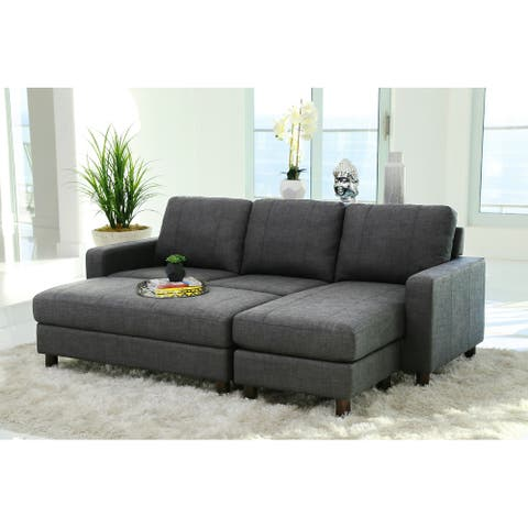 Porch & Den Danyan Grey Fabric Reversible Sectional and Ottoman