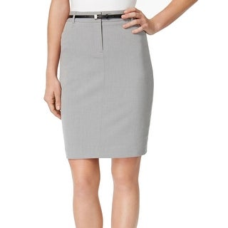 Calvin Klein NEW Gray Belted Women's 10P Petite Straight Pencil Skirt