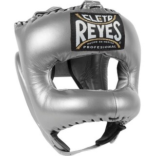 Cleto Reyes Traditional Leather Boxing Headgear with Nylon Face Bar - Titanium