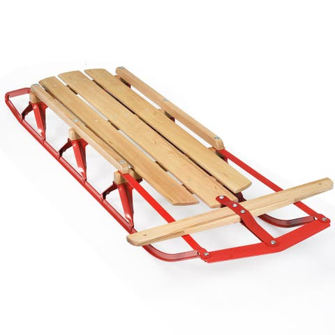 Costway 54''Kids Wooden Snow Sled Runners Steering Bar Steering Snow Slider - Red + Burlywood