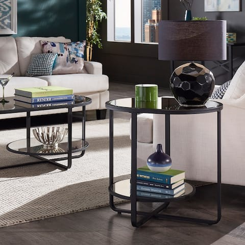 Naches Oval End Table with Antique Mirror Top by iNSPIRE Q Modern - End Table