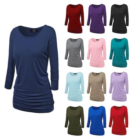Women's Crew Neck 3/4 Sleeve Drape Dolman Shirt Top with Side Shirring
