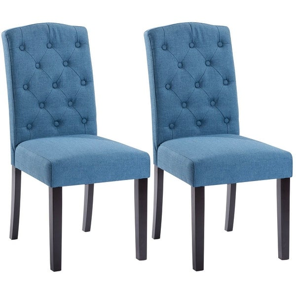 Dining Chair Set 2 Pair Accent Tufted Kitchen Modern Side: Shop Costway Set Of 2 Linen Fabric Wood Accent Dining
