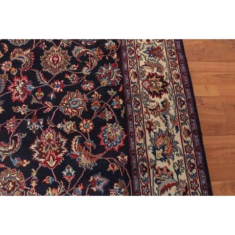 Hand Knotted Mashad 200 KPSI Midnight Blue,Ivory Persian Oriental Area Rug Wool & Silk Traditional Oriental Area Rug (6x9)