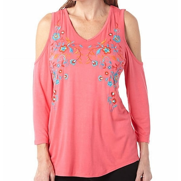 af8ec13aece2d Shop Thomas   Oliva NEW Sunbaked Coral Pink Women XL V-Neck Floral Knit Top  - Free Shipping On Orders Over  45 - Overstock - 20061257