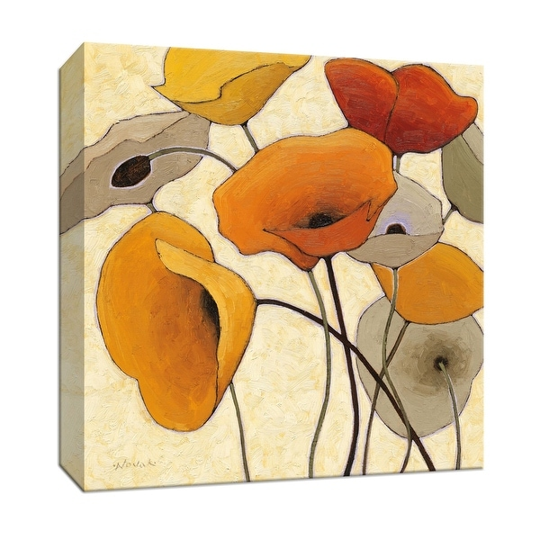 """PTM Images 9-153194 PTM Canvas Collection 12"""" x 12"""" - """"Pumpkin Poppies III"""" Giclee Flowers Art Print on Canvas"""
