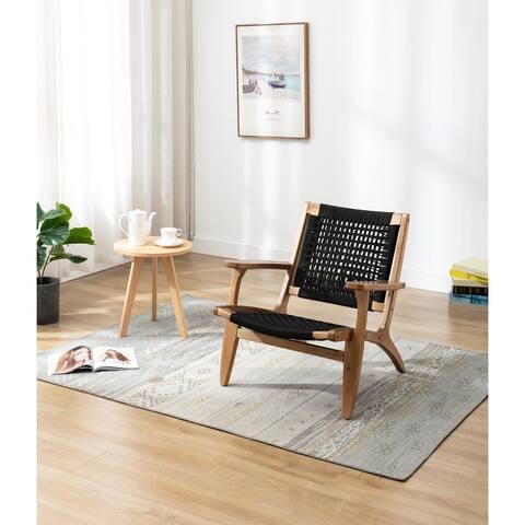 Boraam Harrison Black and Oak Woven Chair
