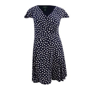 Lauren Ralph Lauren Women's Jersey Polka Dotted V-Neck Dress - Light Navy - 16