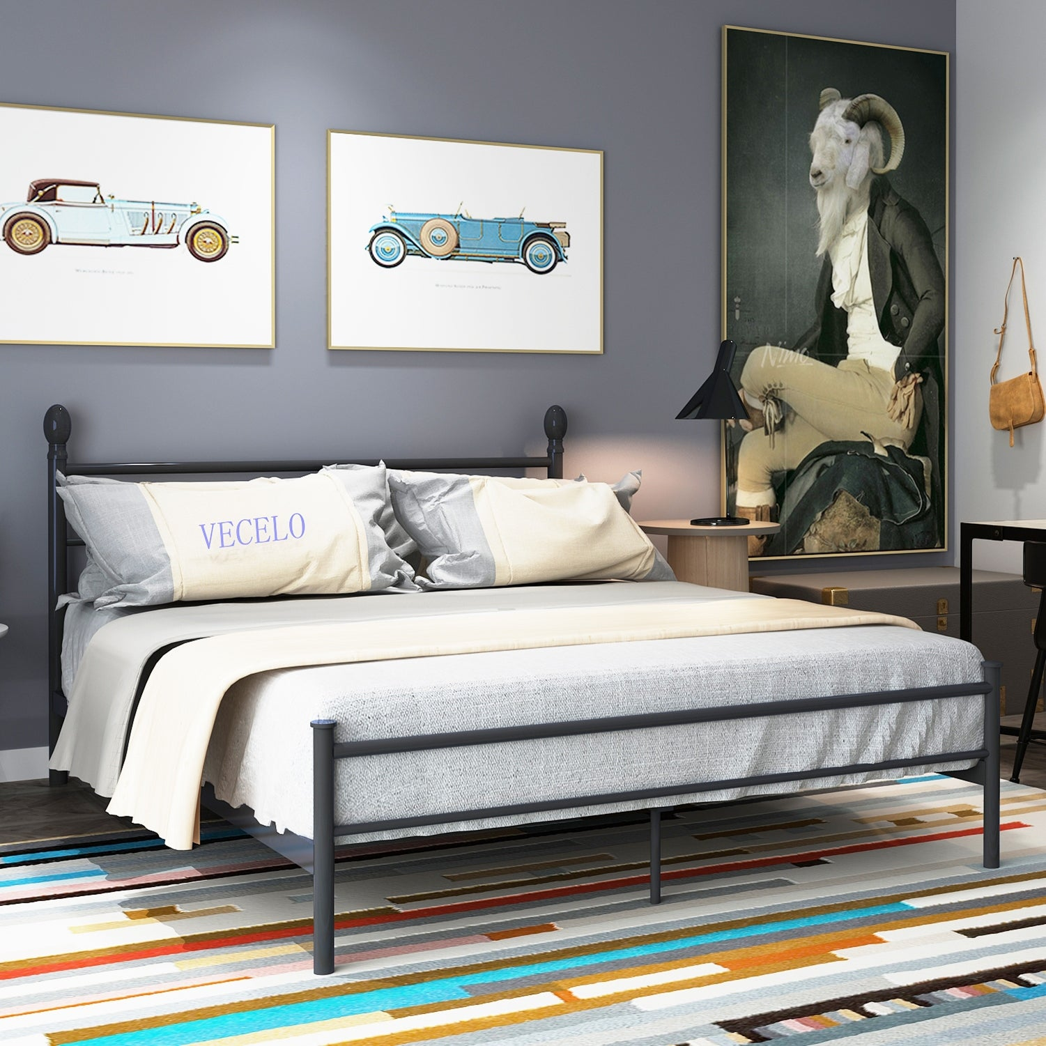 Vecelo Platform Bed Frame Metal Bed With Headboard And Footboard Twin Full Queen King Size Overstock 13047274