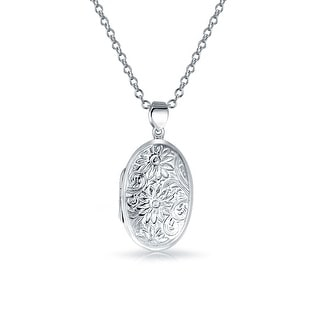 Bling Jewelry Engraved Sunflower Oval Locket .925 Silver Flower Pendant Necklace 18 Inch