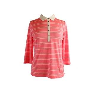 Lauren Ralph Lauren Pink 3/4-Sleeve Striped Polo Shirt L