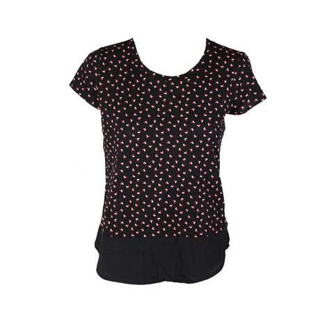 Maison Jules Black Short-Sleeve Polka-Dot Contrast Top S