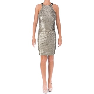 Laundry by Shelli Segal Womens Shimmer Halter Cocktail Dress