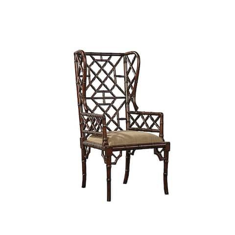 Sumatra Geometric Bamboo-Style Wingback Armchairs (Set of 2)