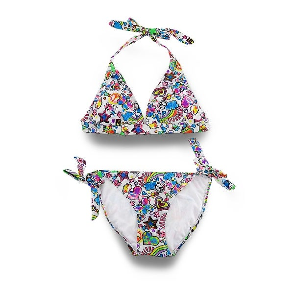 abddabfd71 Shop Neon Graffiti Print Push-Up Halter Top Side-Tie Bikini - Free ...