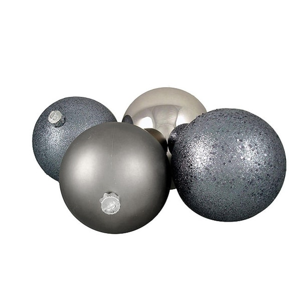 "4ct Light Gunmetal Gray Shatterproof 4-Finish Christmas Ball Ornaments 6"" (150mm)"