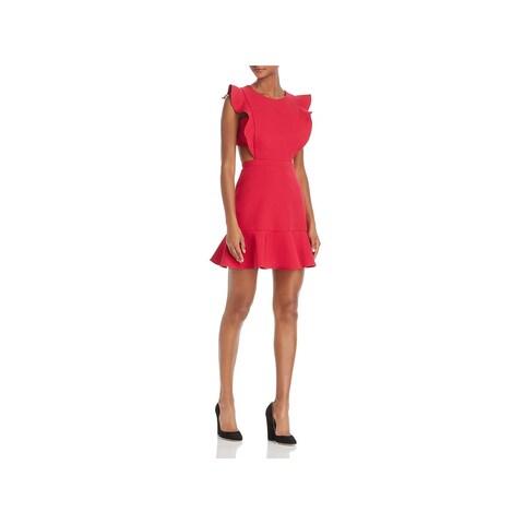 BCBG Max Azria Womens Nicole Cocktail Dress Ruffle Trim Cutout