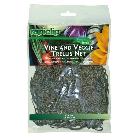 Luster Leaf 864 Rapiclip Vine & Veggie Trellis Net, Green, 5' x 10'