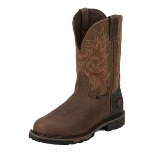 Justin Work Boots Mens Hybred Barnwood Waterproof Western Rust WK4940