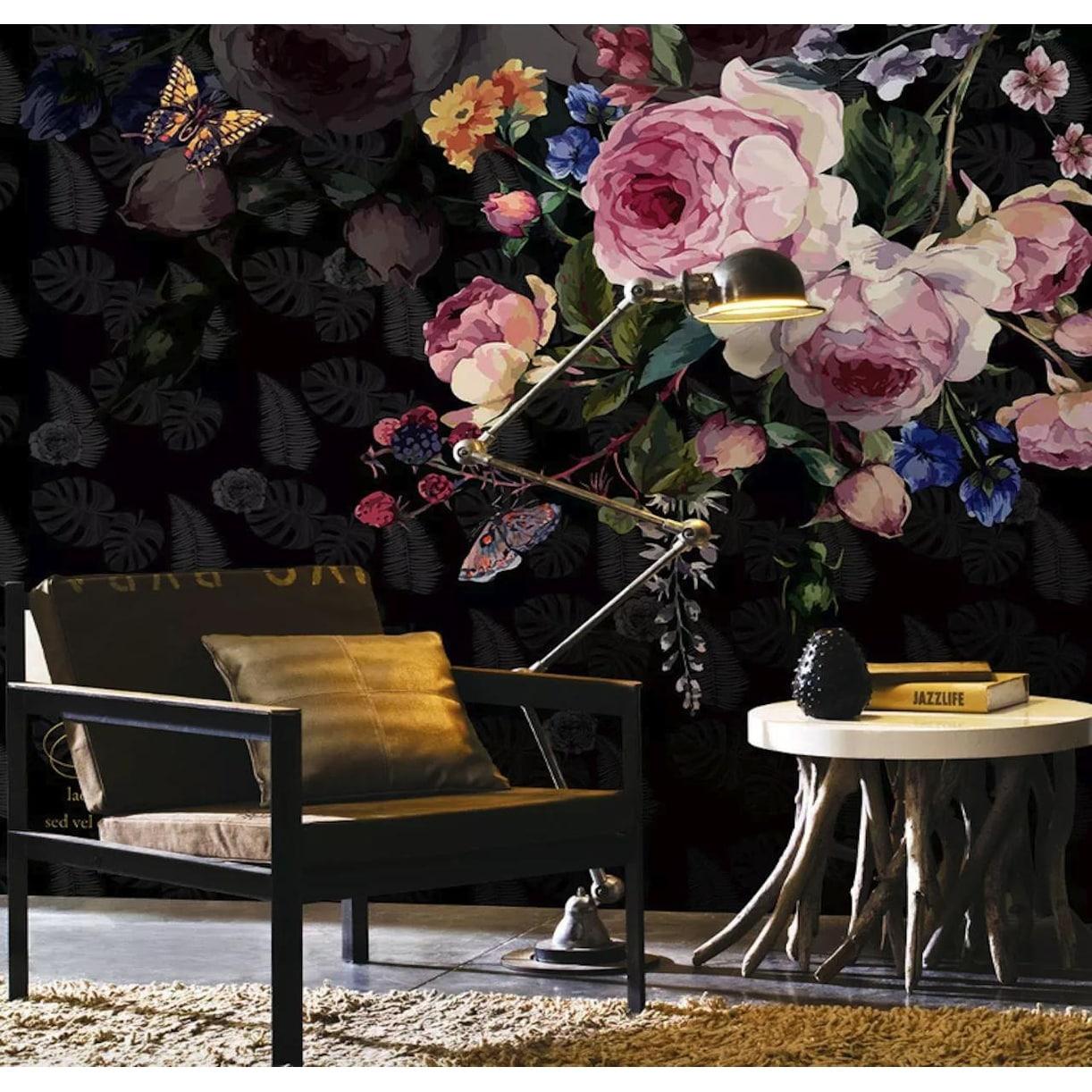Pink Peony Flower Dark Floral Leaf Pattern Textile Wallpaper Overstock 31419666