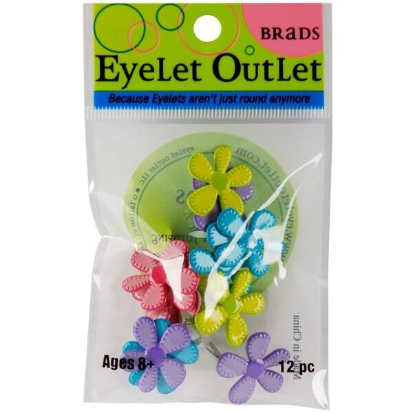Eyelet Outlet Shape Brads 12/Pkg-Stitched Flowers - Bright