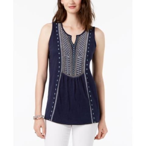 Charter Club Women's Cotton Embroidered Tank Top Intrepid Blue Size Large