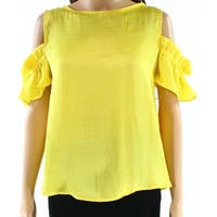 Harlowe & Graham Yellow Womens Size Small S Cold-Shoulder Blouse