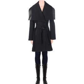 Elie Tahari Womens Marina Wool Leather Trench Coat