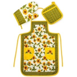 Chef's 3 Piece Kitchen Set - Apron, Oven Mit and Potholder