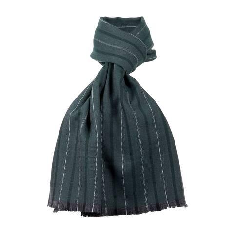 Ermenegildo Zegna Green Fine Stripe Pure Wool Fringe Scarf - 22.5-78