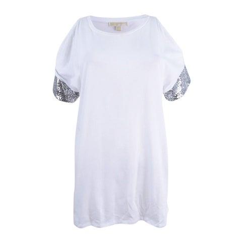 Michael Kors Women's Sequin Sleeve Cold Shoulder Top