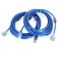 Unique Bargains 2 Pcs PVC Cover 16ft USB 2.0 A Male to A Female Extension Cable Blue