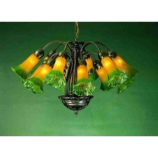 Meyda Tiffany 15997 Lilies 12 Light Single Tier Chandelier with Tiffany Stained Glass Shades