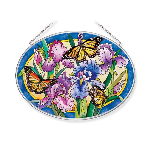"Purple and Yellow Iris with Butterfly Oval Glass Wall Art Decor 6.75"" x 9.25"" - N/A"