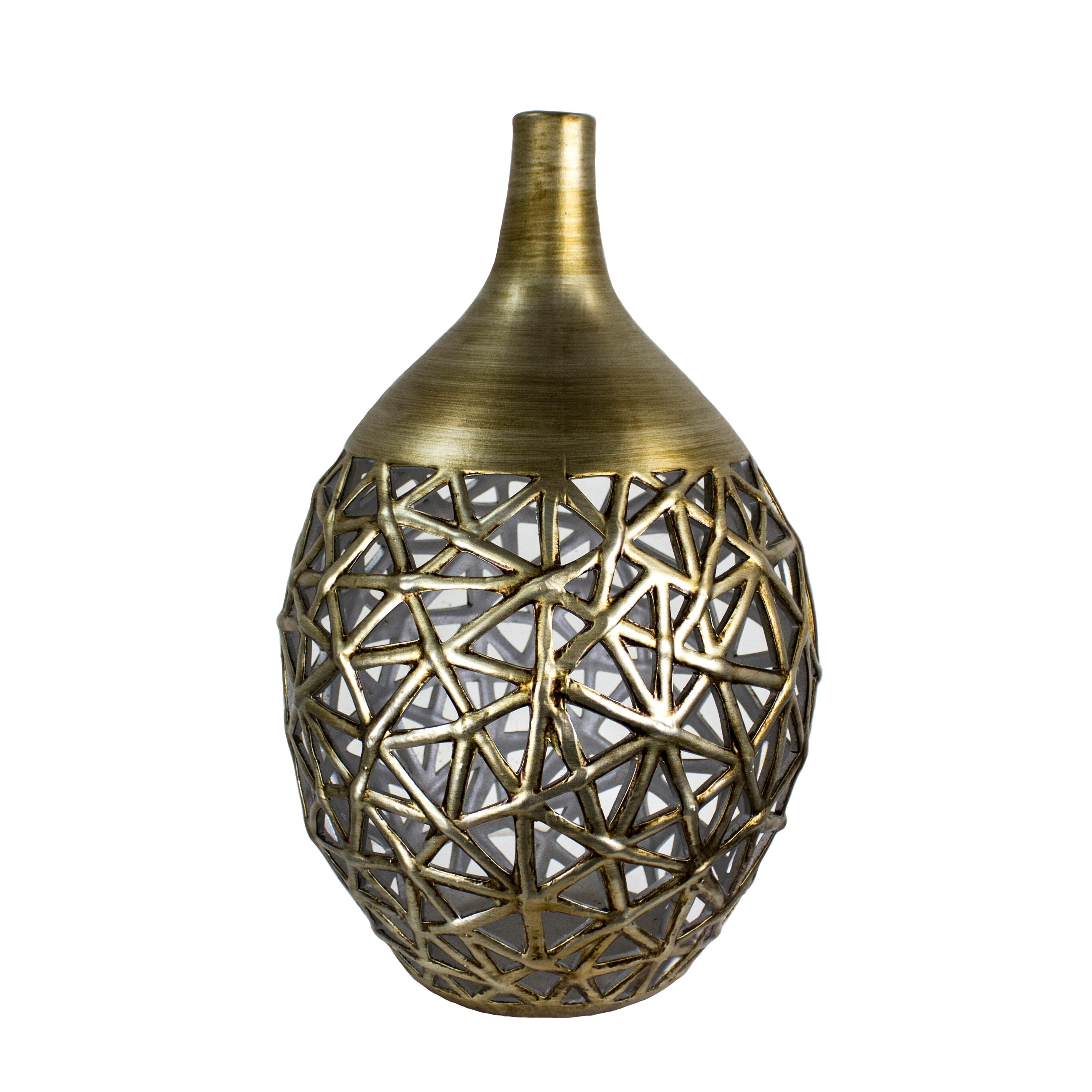 Decorative Cutout Pattern Ceramic Vase with Elongated Narrow Neck, Gold