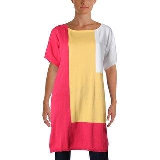 Joan Vass Womens Juniors Tunic Top Colorblock Dolman Sleeves