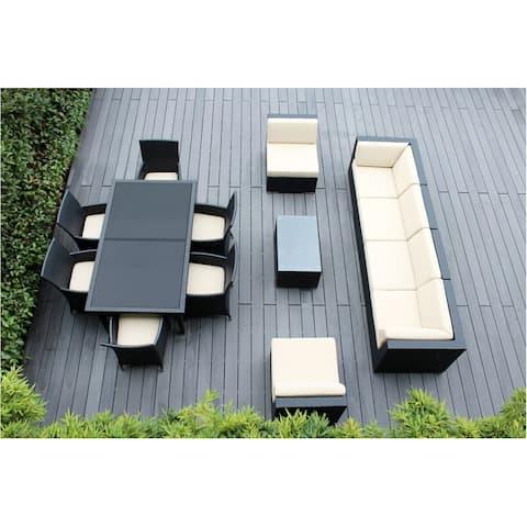 Ohana Outdoor Patio 14 Piece Black Wicker Sofa and Dining Set