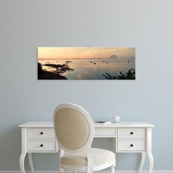 Easy Art Prints Panoramic Images's 'Boats in a bay, Morro Rock, Morro Bay, San Luis Obispo, California' Canvas Art