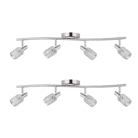 """5"""" Modern Brushed Steel 4-Light Wire Decorative Track Bar Set of 2 - exact color - exact size"""