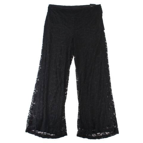 Alfani Black Women's 14W Plus Floral Lace Pull On Wide Leg Pants