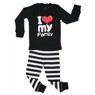 Elowel Unisex Black White Sripe Family Love Cotton 2 Pc Pajama Set 7-12