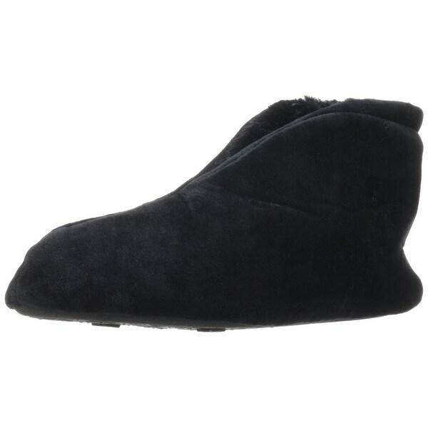 Dearfoams Womens Velour Bootie Slipper - Black