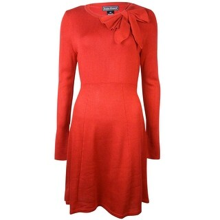 Jessica Howard Women's Long Sleeve Bow Dress (PM, Red) - Red - pm
