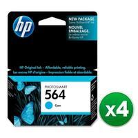 HP 564 Cyan Original Ink Cartridge (CB318WN)(4-Pack)