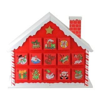 "10.25"" Red and White Advent House with Chimney Storage Box"