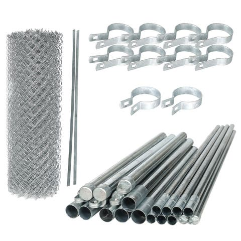 ALEKO Galvanized Steel Chain Link Fence 4X50 Feet Complete Kit