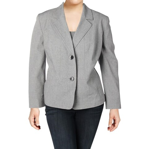 Kasper Womens Plus Two-Button Blazer Professional Wear Textured
