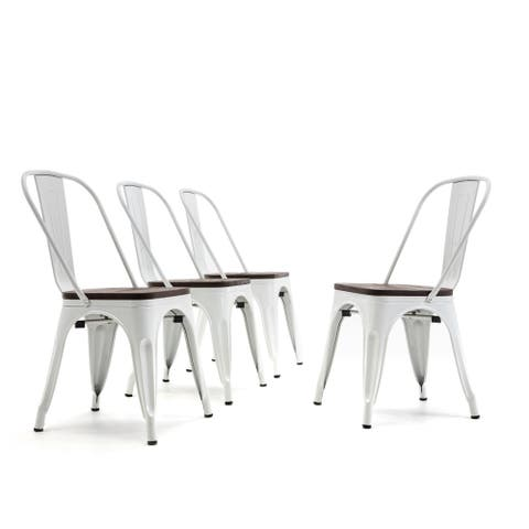 BELLEZE Set of 4 Metal Chair w/ Wood Seat Stackable Chairs, White