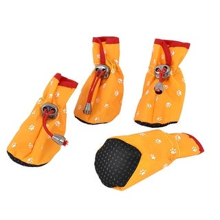 Unique Bargains 2 Pairs Walking Running Paw Print Drawstring Pet Dog Shoes Boot Yellow XXS